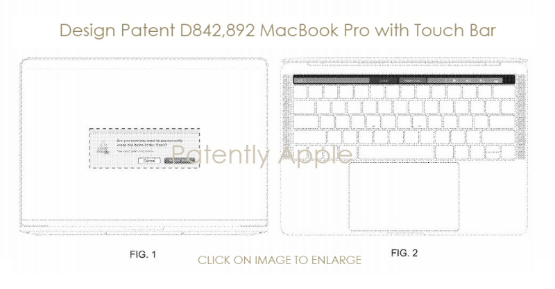 5 X MacBook Pro with touch bar design patent