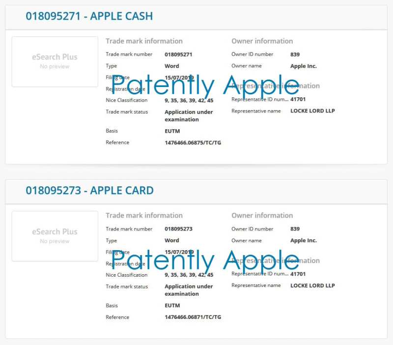 2 X  EU Apple Trademarks related to Apple Pay  Apple Card +
