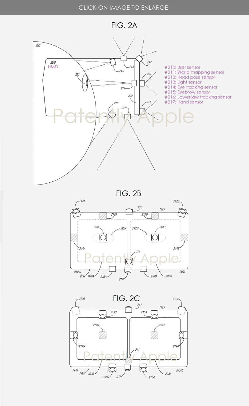 3 Apple MR HMD sensor system figs 2ABC - Patently Apple IP Report July 18  2019