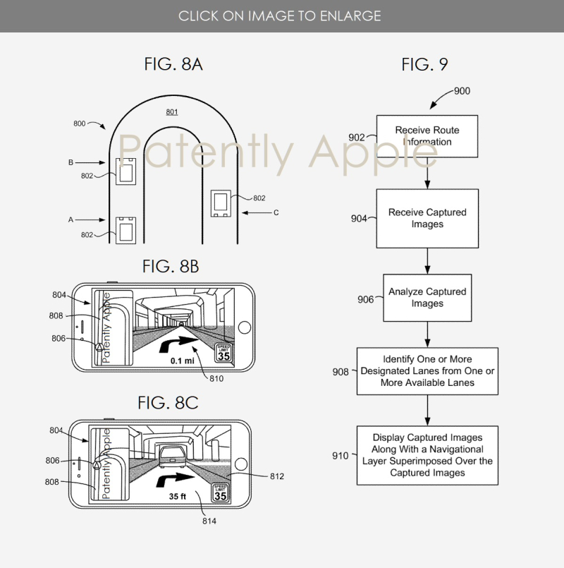 5x  apple patent figs 8abc  9 AR Device for vechicles