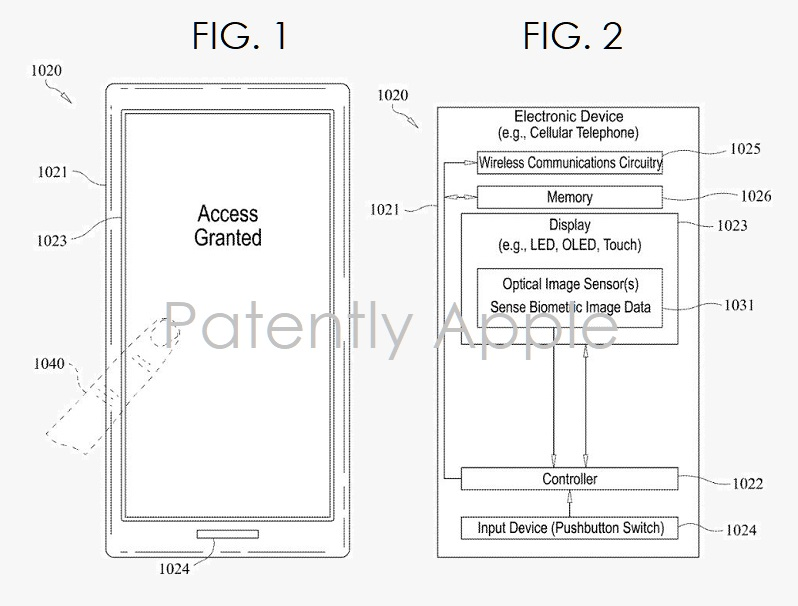 3 X - Apple figs  1 and 2 fingerprint ID optical scanners under the display  Patently Apple IP report mar 28  2019