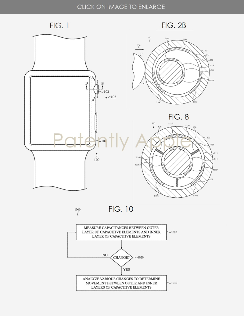 2 X Apple Watch Crown related - IP report Patently Apple Aug 13  2019 figs 1  2b  8 & 10