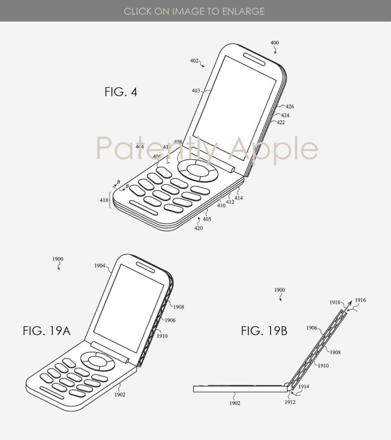 2 Apple patent figs 4  19a b clamshell phone  Patently Apple IP report Apr 4  2019