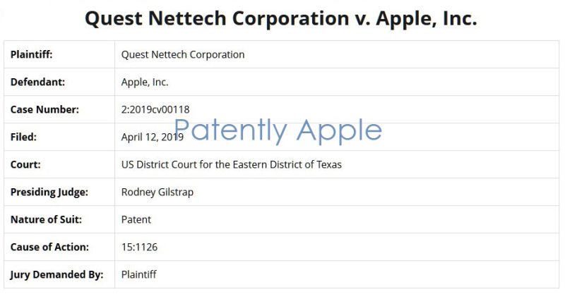 3 overview of Quest Nettech v Apple inc