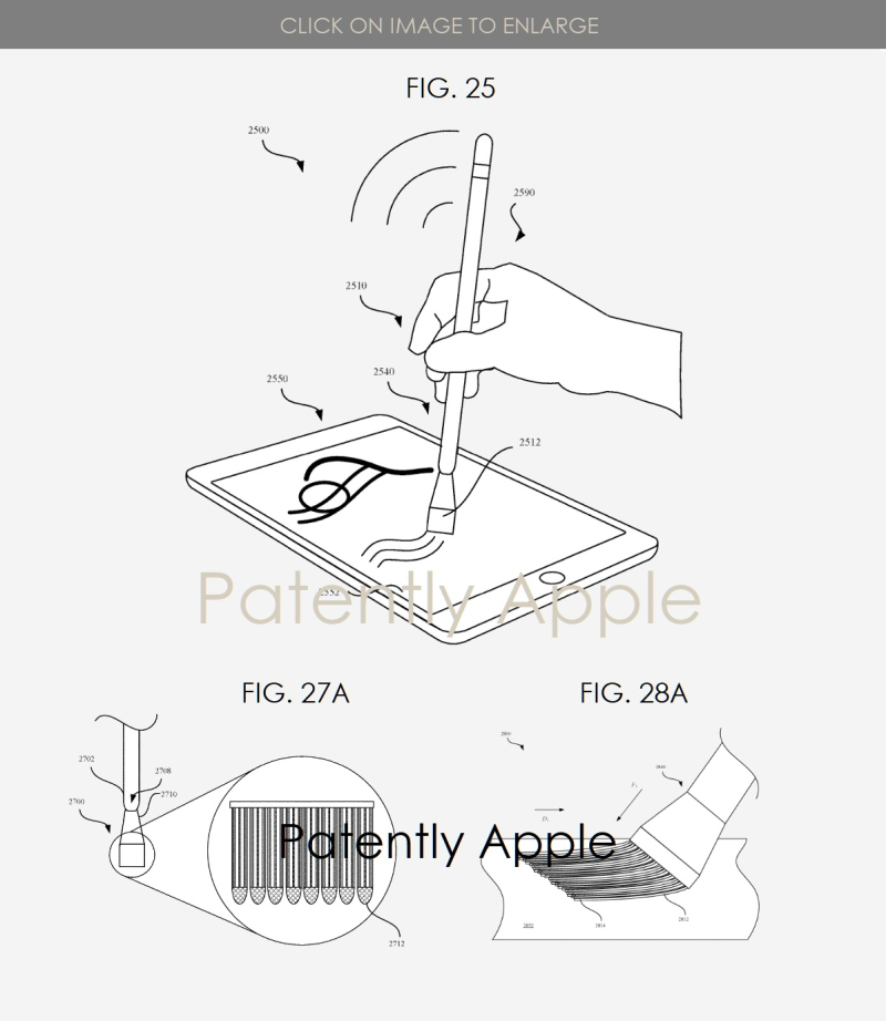 3 Swappable tips with brush option  FIGS 25  27A  28A  PATENTLY APPLE IP REPORT APR 23  2019