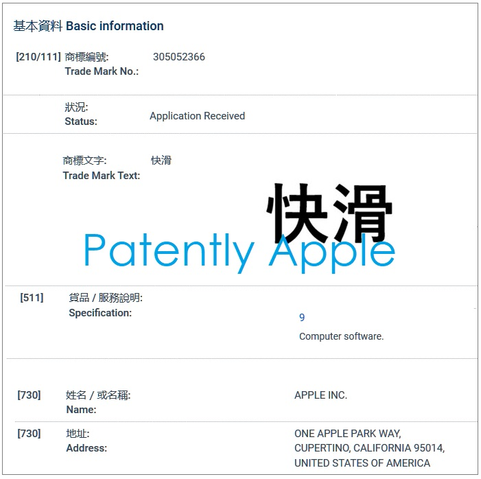 5 basic info hong kong tm filing sept 11  2019  Apple Inc