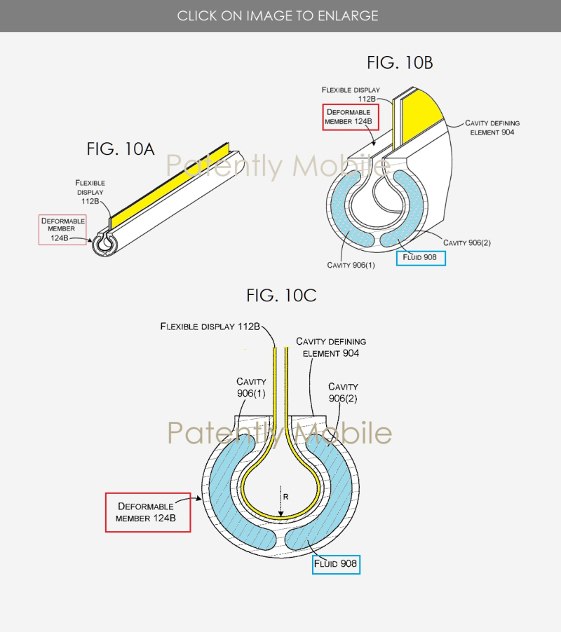3 microsoft hinge for folding device using a fluid cavity figs 10A  B & C - Patently Mobile IP report