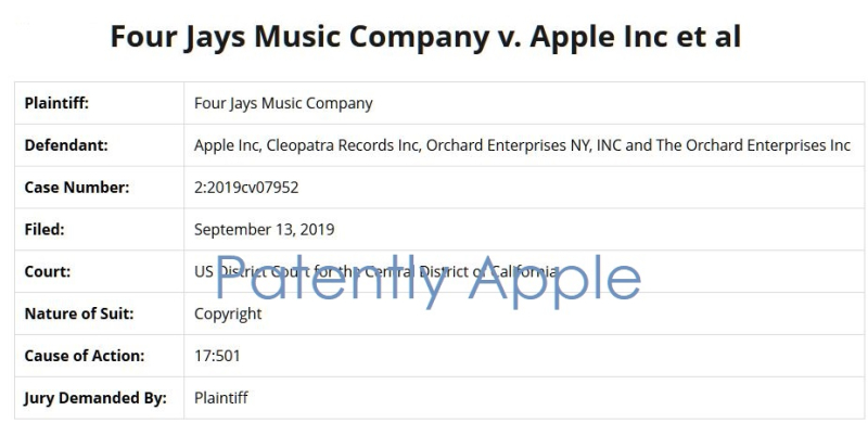 2 x overview of case four jays music company v apple et al