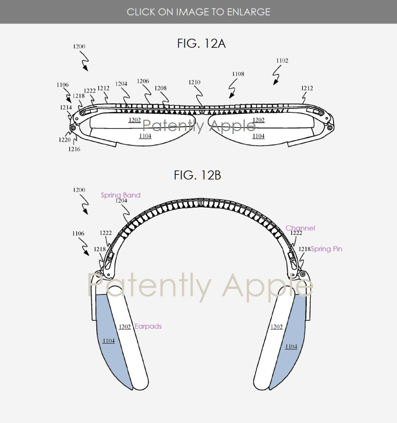 3 collapsable headphones Apple patent figs 12a b  Patently  Apple IP report May 23  2019 - Euro Apple patent filing