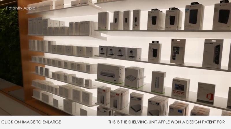 3 Apple Store Shelving unit shown in Dubai video