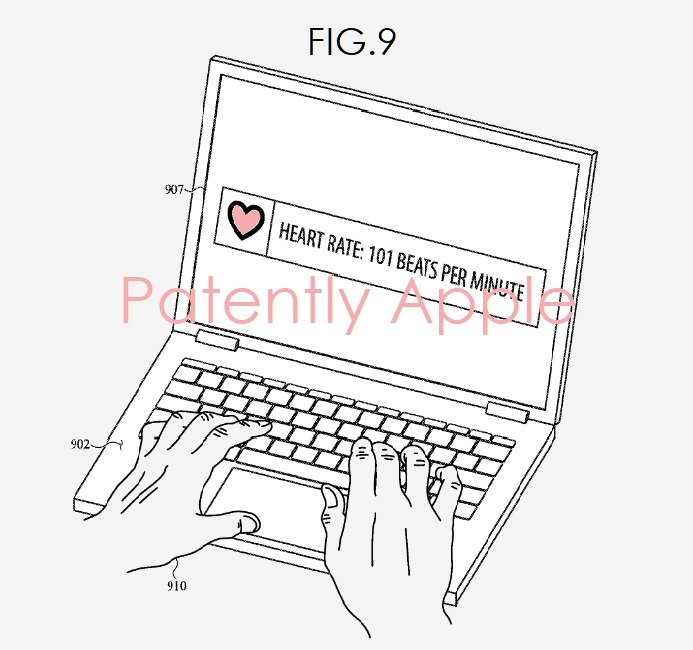 3 Apple patent fig 9 for biomtrics built-into MacBook
