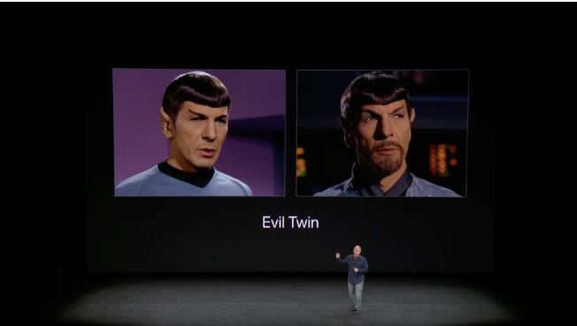 2  iPhone X Evil Twin  Face ID image from iPhone x keynote   Patently Apple Report