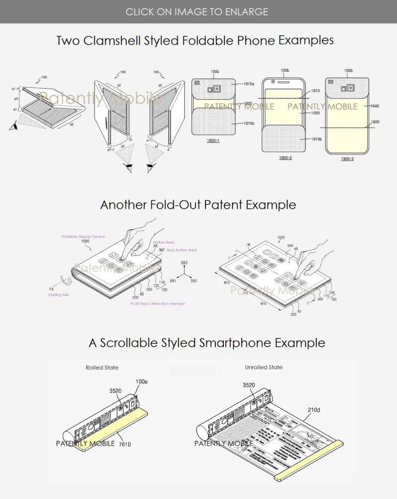 2 a variety of Samsung styled foldable phone patent figures