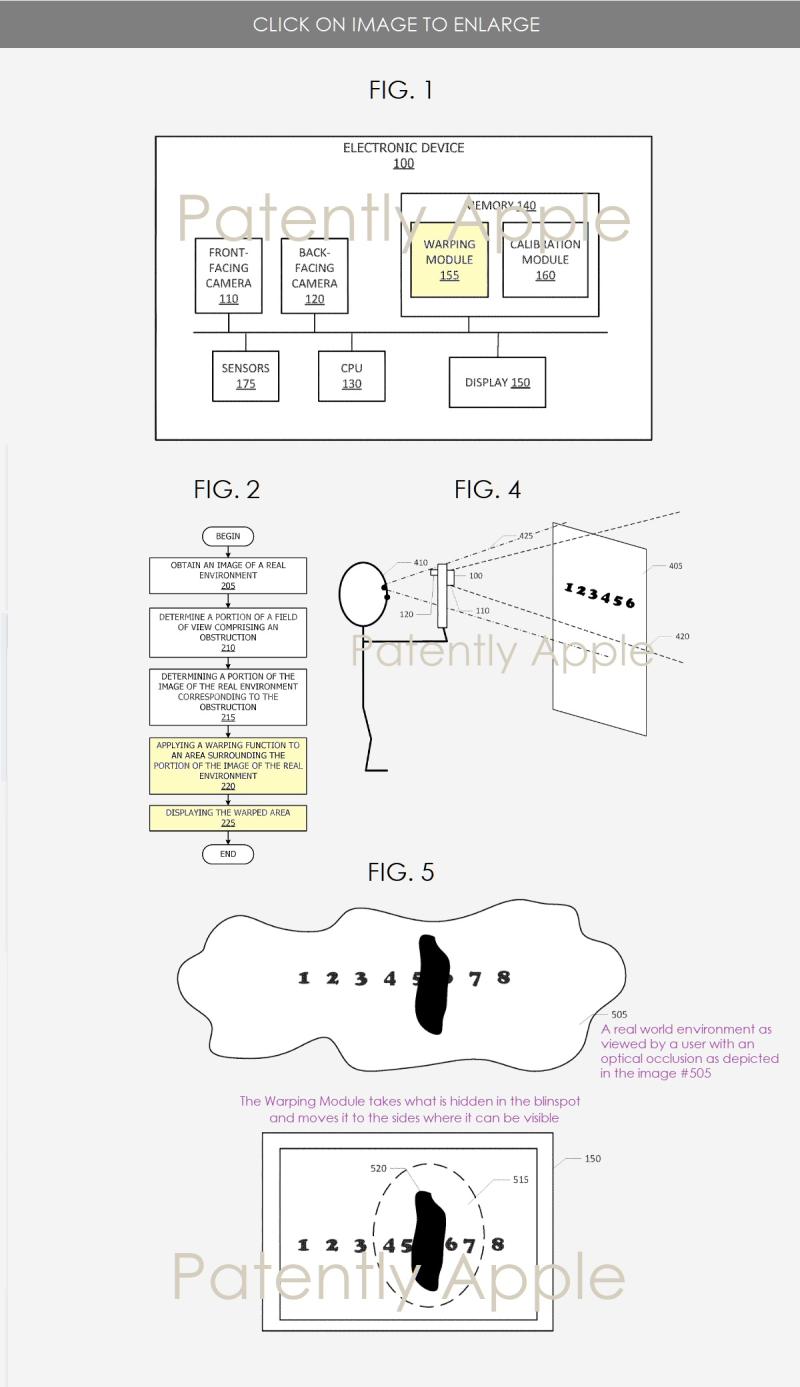 2 X Apple patent figures 1  2  4 & 5 warping camera module
