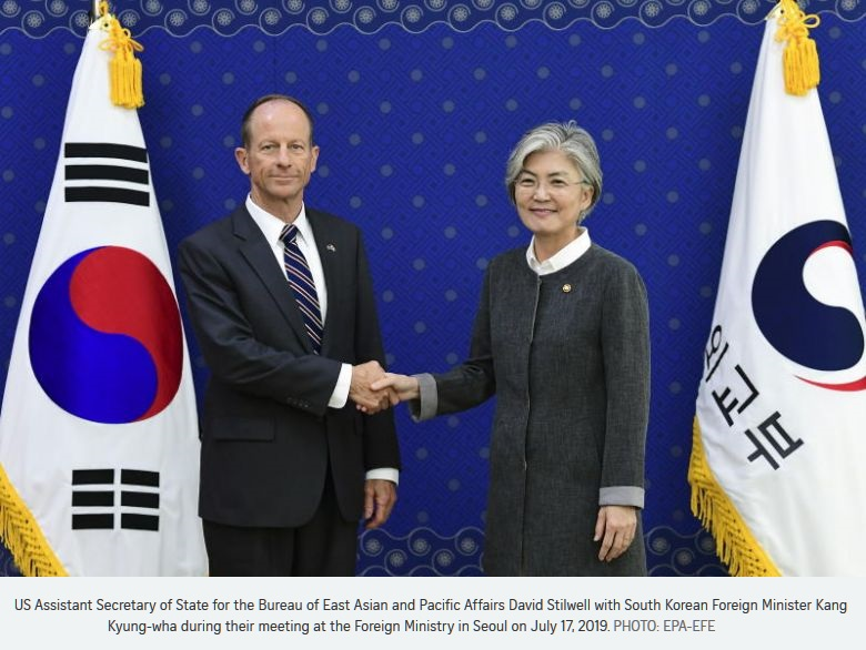 1 x cover US david stilwell  with SKorea Foreign Minister
