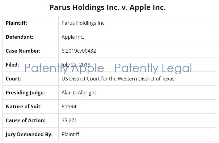 3 overview info of case Parus Holdings v. Apple