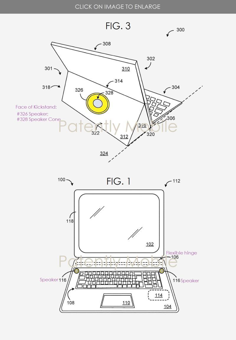 2 Microsoft patent figs 1 & 3  speakers  main speaker on kickstand
