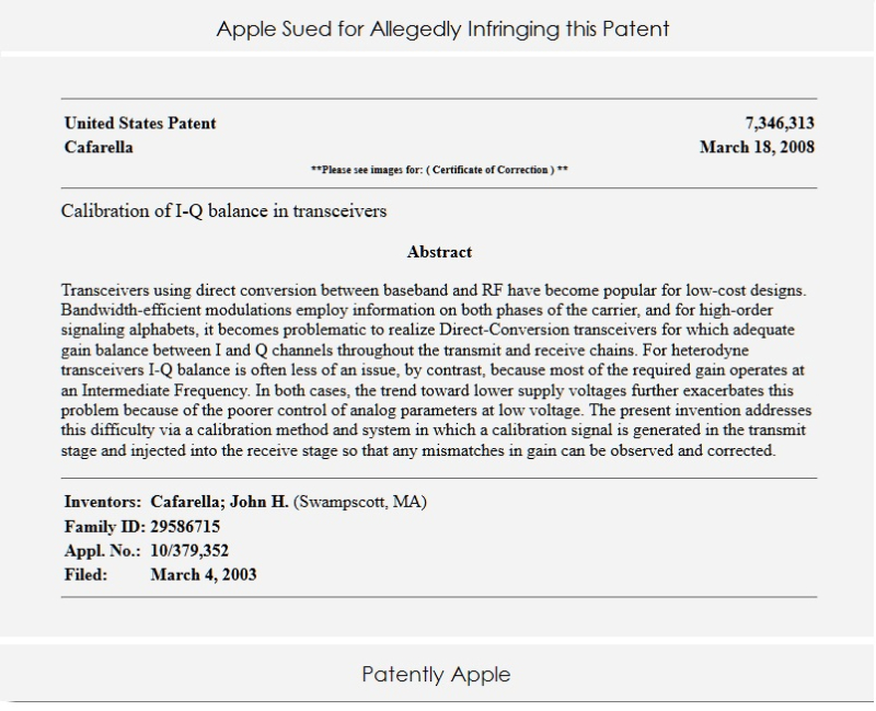 2 Apple being sued by Red Rock Analytics with a patent they acquried from John Cafarella
