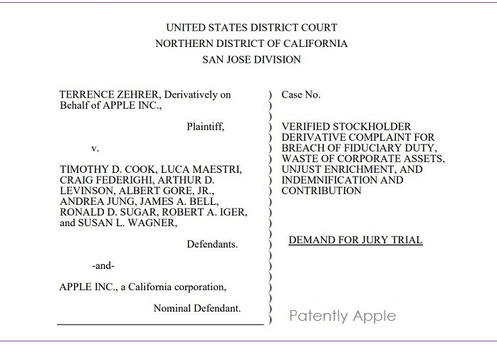 1 XCOVER TERRENCE ZEHRER V APPLE BREACH OF FIDUCIARY DUTY ....