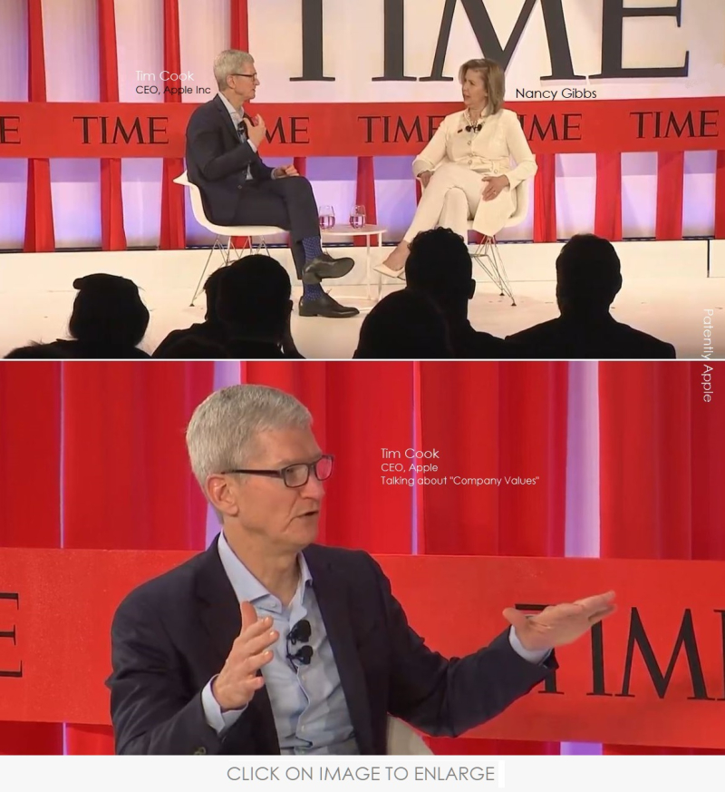 2 FINAL IMAGE -  Tim Cook at Time 100 Summit Apr 23  2019 Patently Apple report
