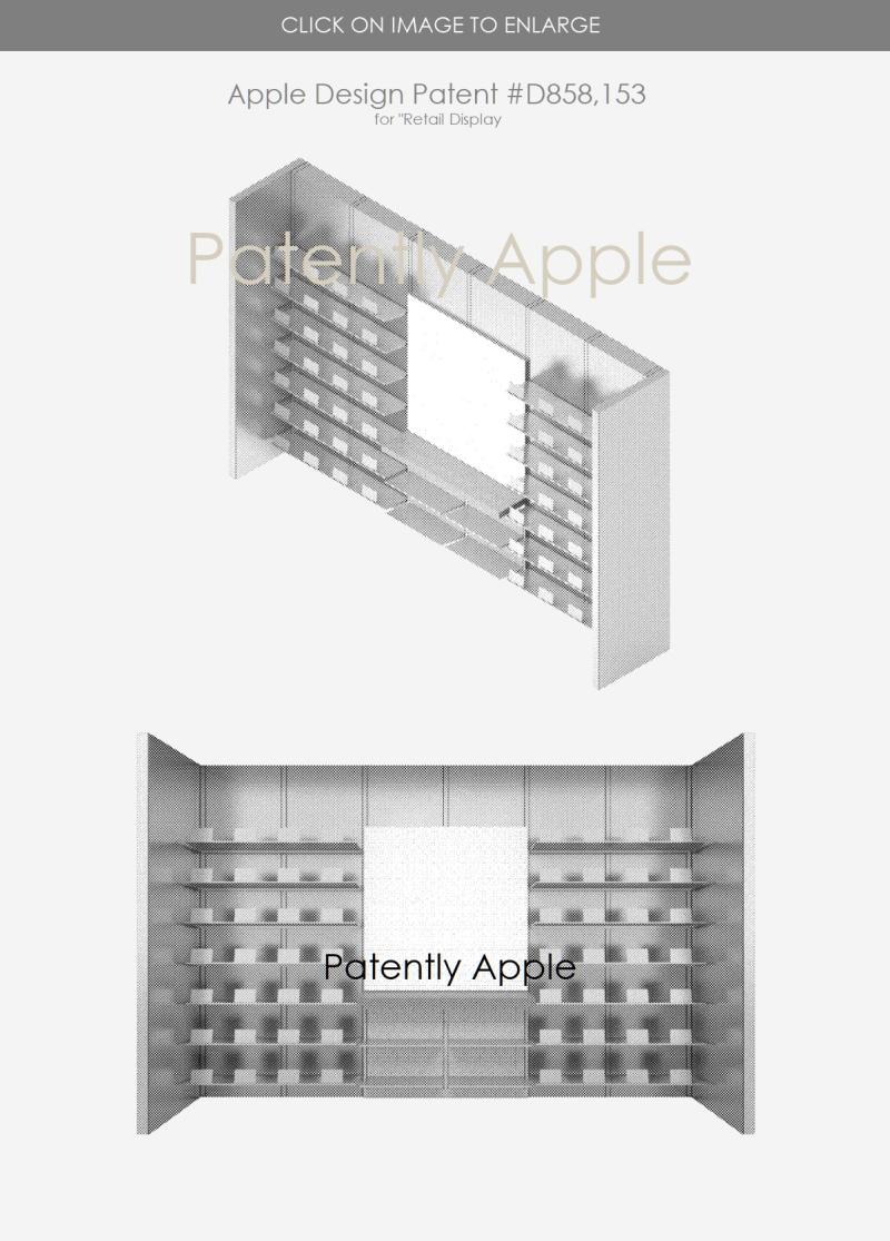 4 design patent D858 153  Apple retail display - patent apple ip report sept 3  2019