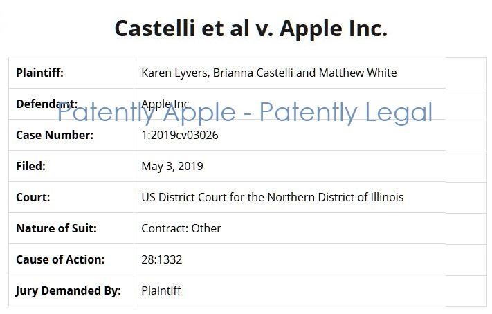 3 X class action against Apple via Castelli May 2019
