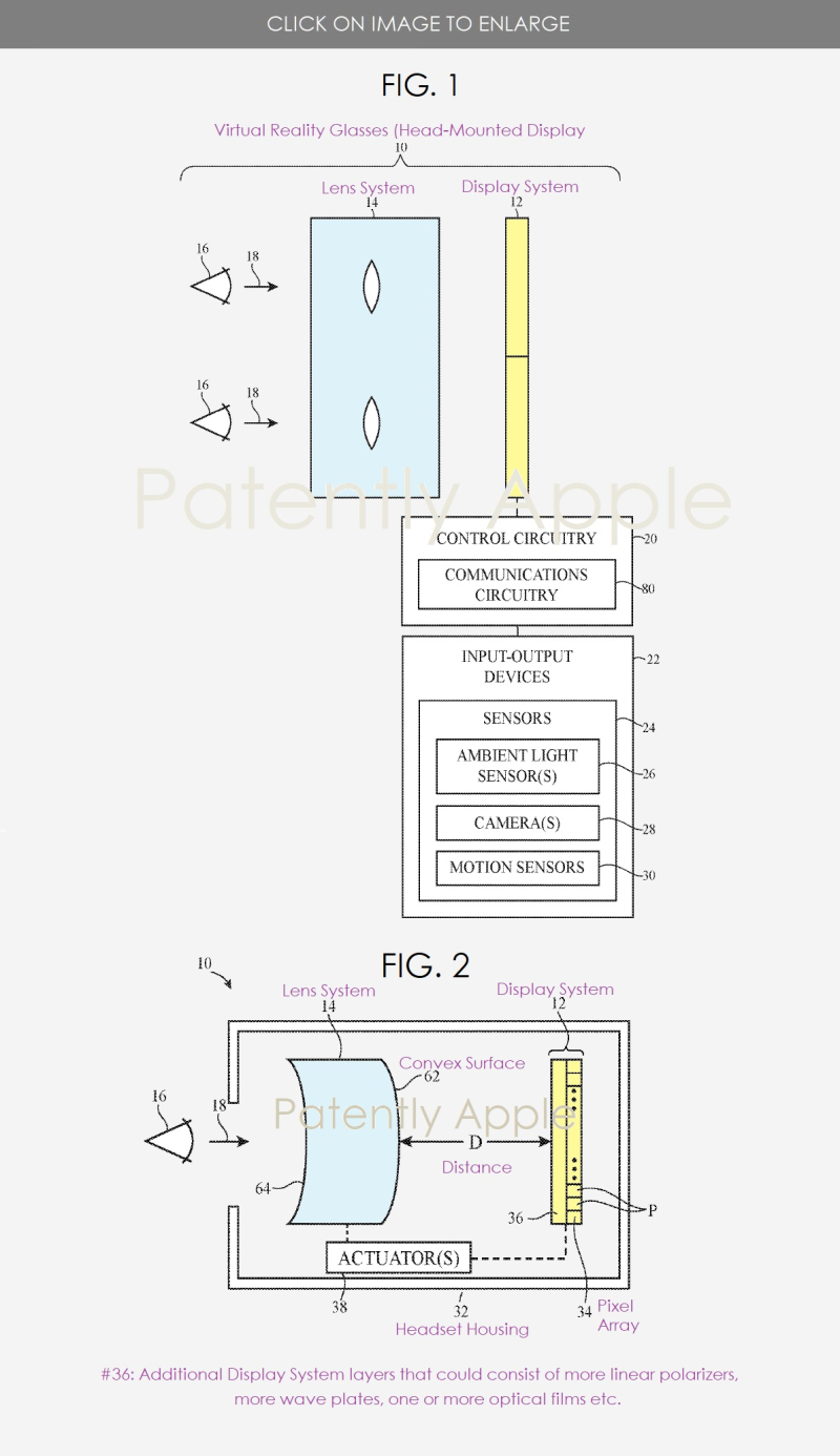 2 Apple patent optical system for headset 2019 figs 1 & 2