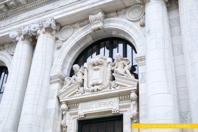 3 X Apple Carnegie-Library Vermont-Marble-Facade-Sculptures