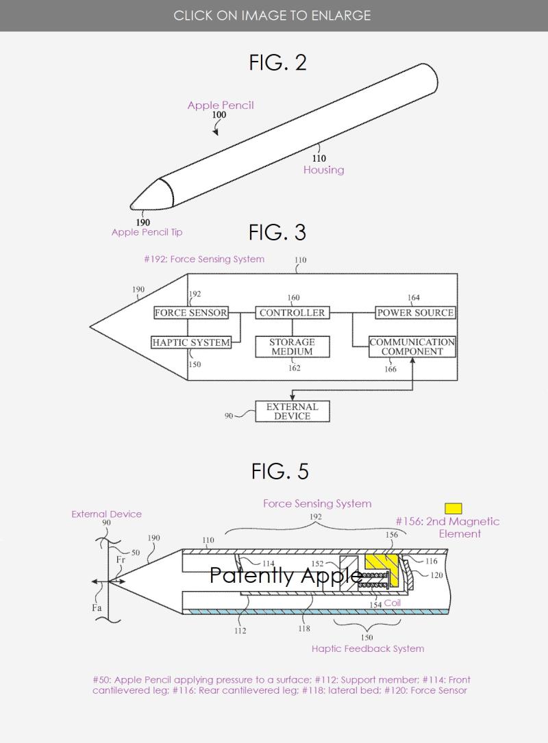 2 Apple Pencil patent application regarding texture haptics figs 2  3 & 5