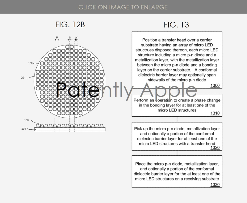 3 Micro-LED display granted patent  apple  patently apple report may 21  2019 figs. 12b  13