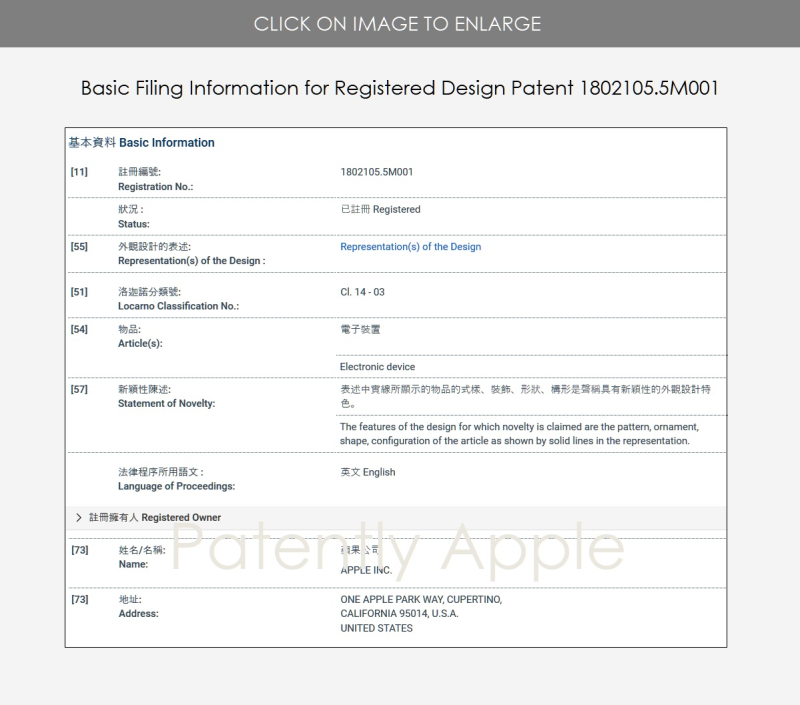 2X  Apple design patent figures for #1802105.5M001 - Hong Kong Patent Office - Patently Apple IP Report