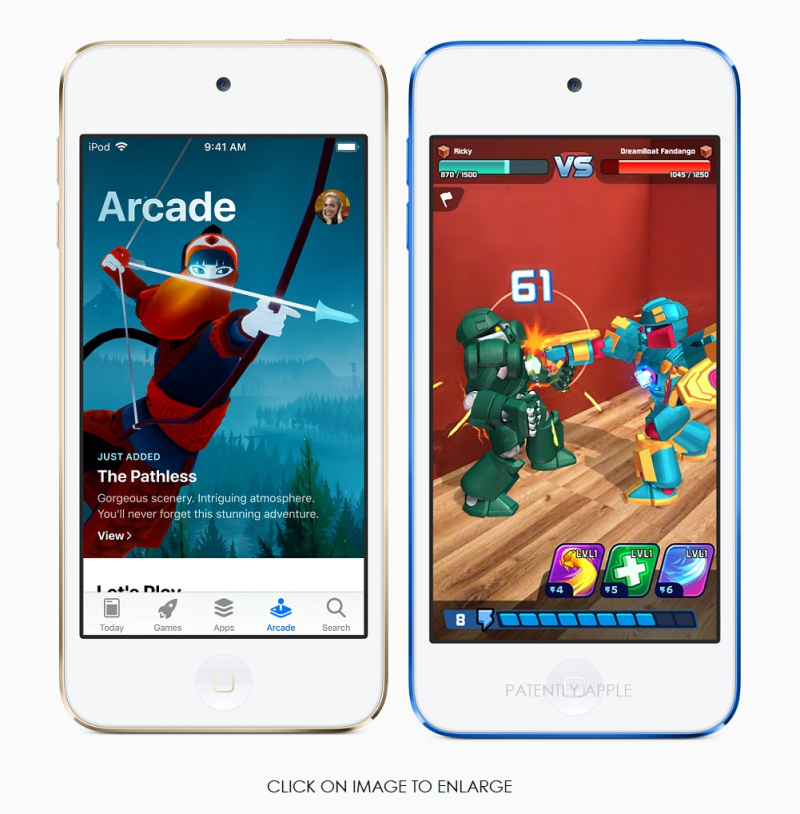 2 APPLE IMAGES OF NEW IPOD FOCUSED ON GAMES  ARCADE