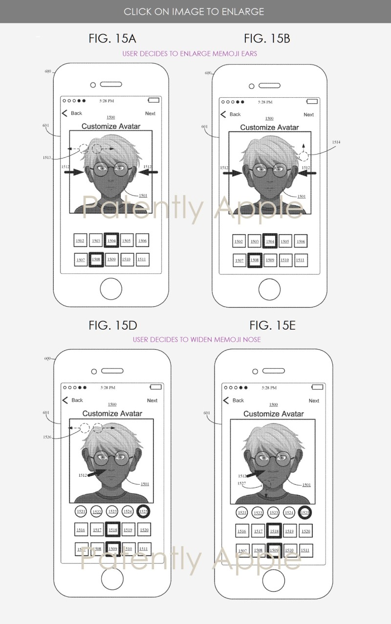 3 Apple memoji patent figs 15a  b  d & e - Patently Apple IP report May 31  2019