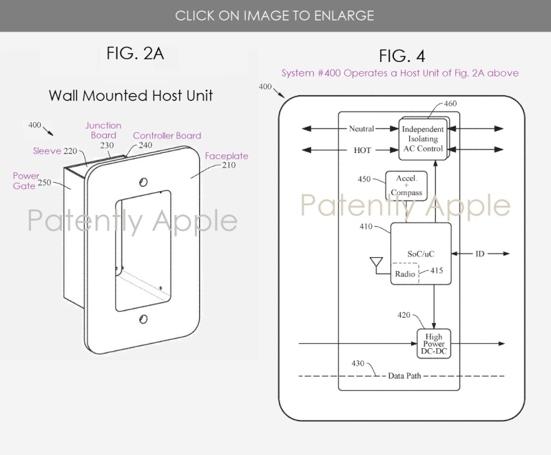 2 X apple fig. 2a smarthome patent - Wall Mounted Host Unit and system fig. 4
