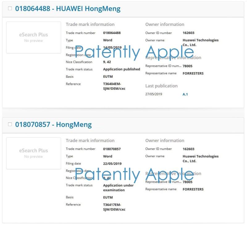 2 x Huawei OS TM filing