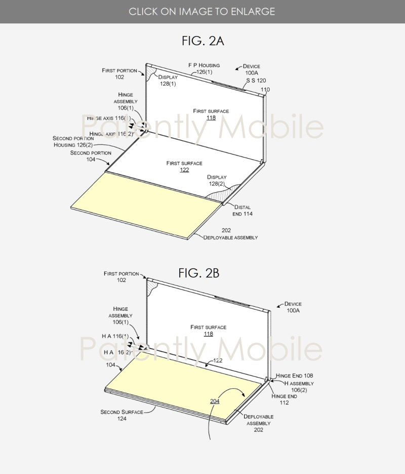 2 msft hinge patent showing how keyboard swings around to sit on top of one of the displays