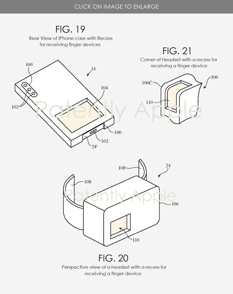 4 Apple patent figs 19  20 and 21  finger devices with devices to store in