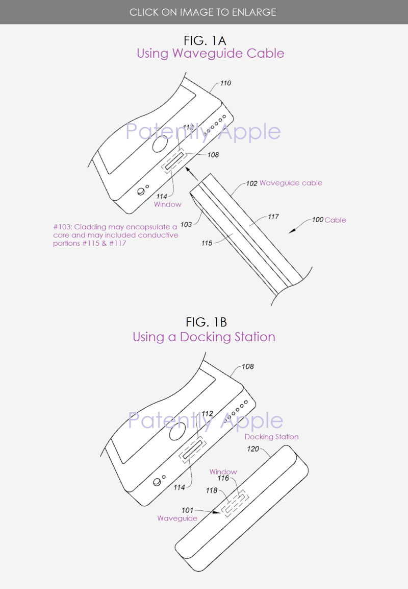 4 xx  patent figs 1A & 1B  waveguide cable and dock - Patently Apple IP report