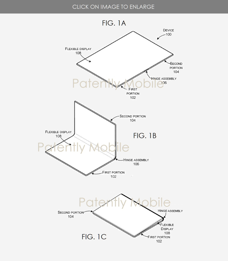 2 Microsoft hinge for foldable device figs. 1AB&C Patently Mobile IP Report