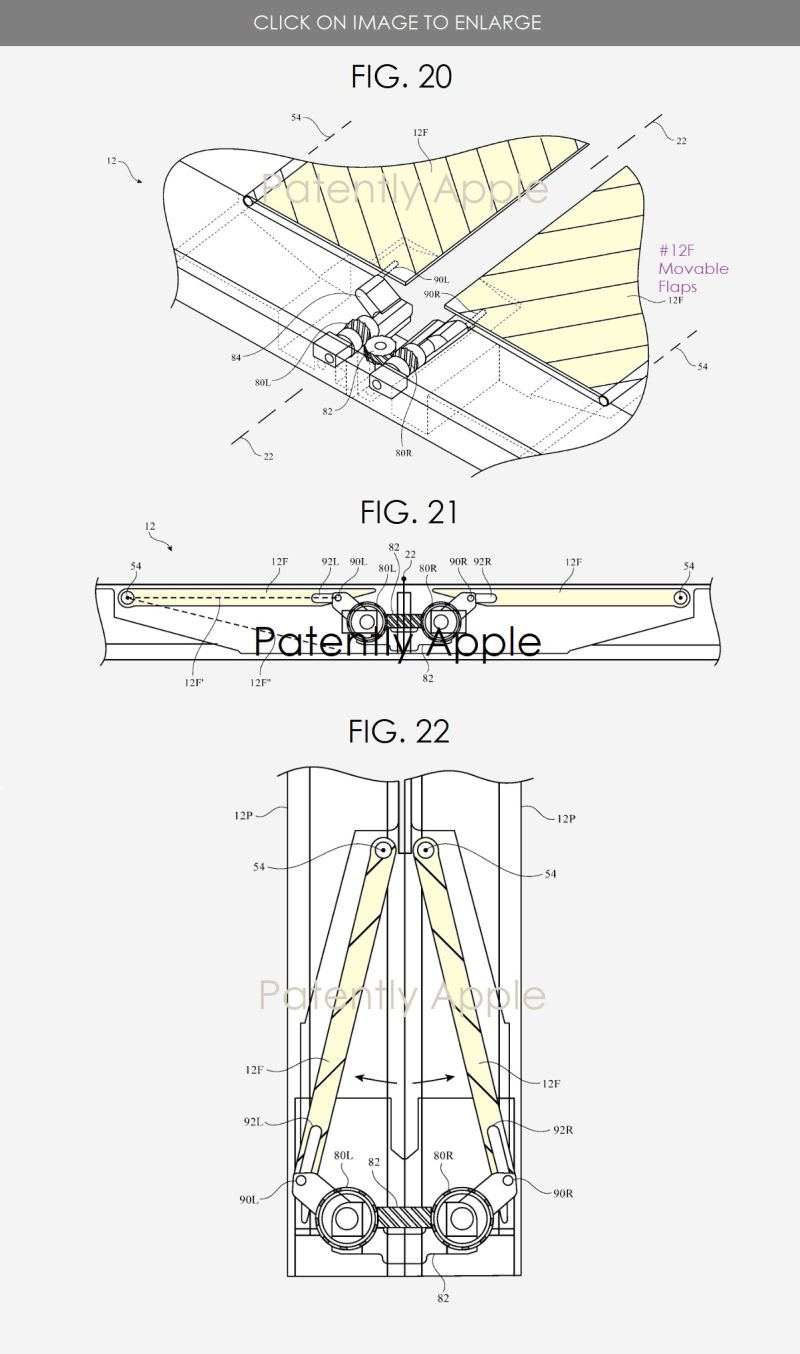 3 Apple flexible display foldable device  hinge system with movable flaps
