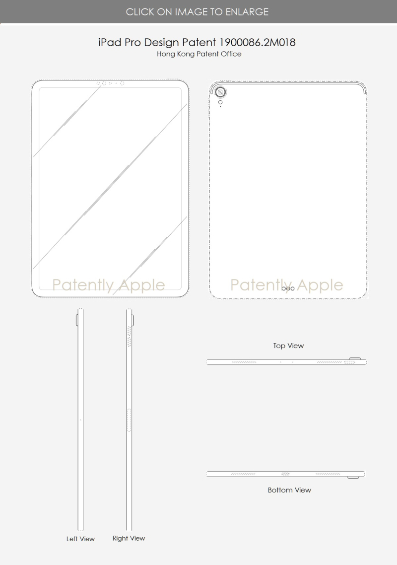 6 iPad Pro design patent 1900086.2M018 line art version shows camera - Patently Apple IP Report 07-06-2019