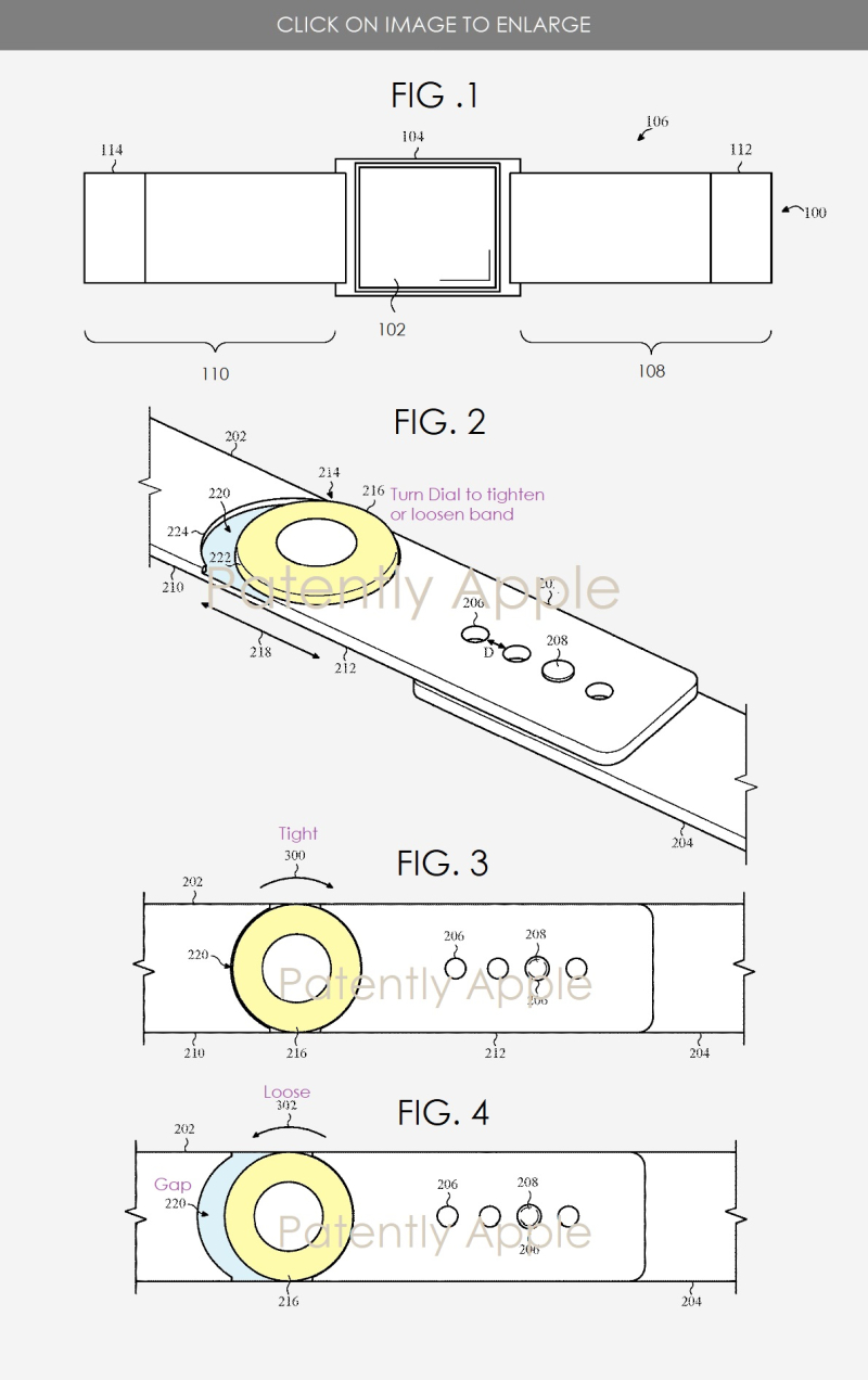 2 Apple Watch with new band mechanism to tighten or loosen band