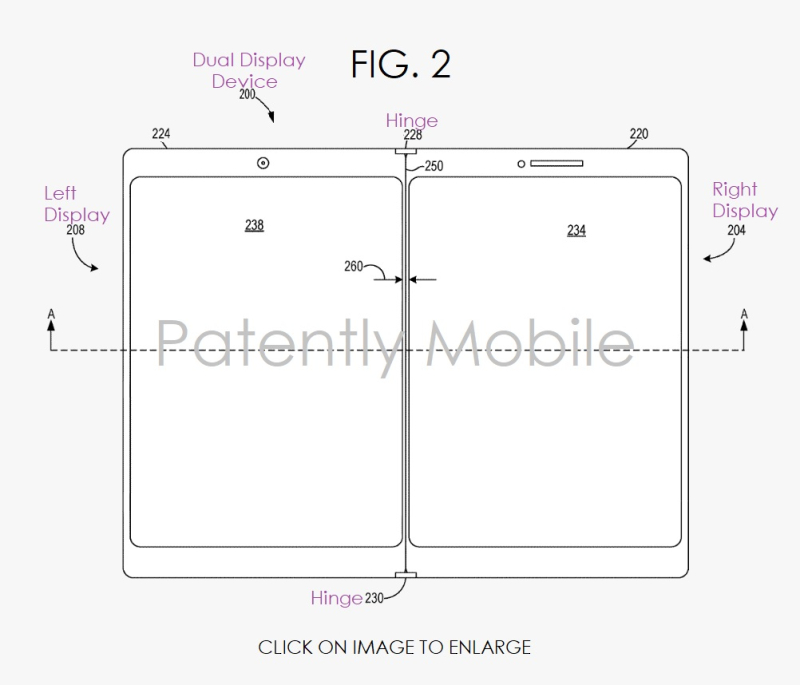 3 Microsoft granted patent figures for dual displays device