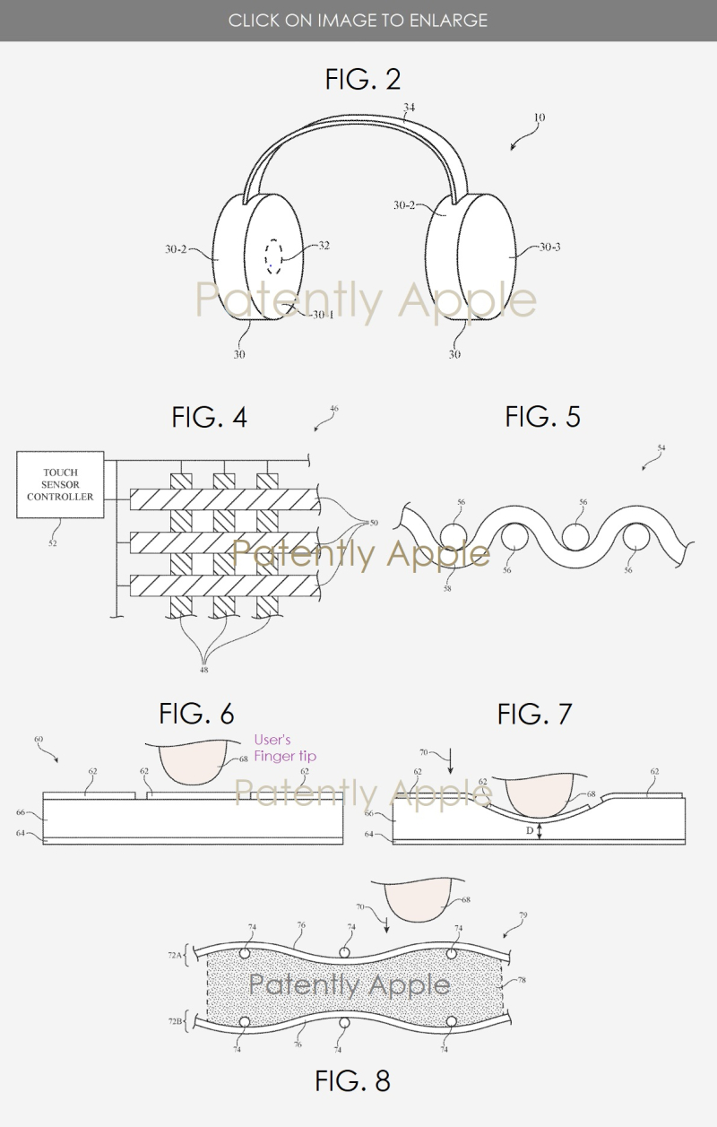 2 headphones with touch sensors on fabric material figs     6  7 & 8