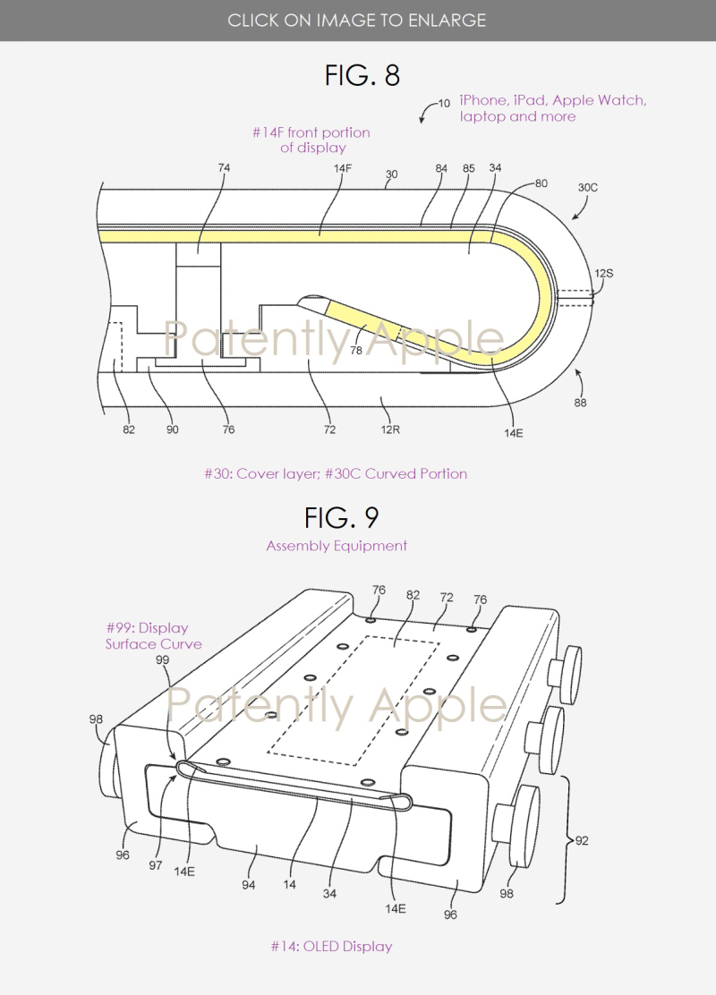 3 Apple patent figs 8 and 9 bend display edges