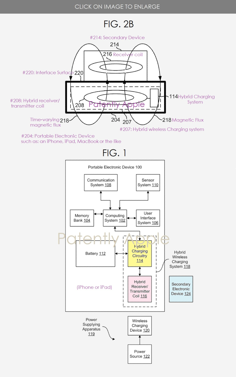 2 Apple patent figs 1 & 2B - hybrid charging system - reverse wireless charging