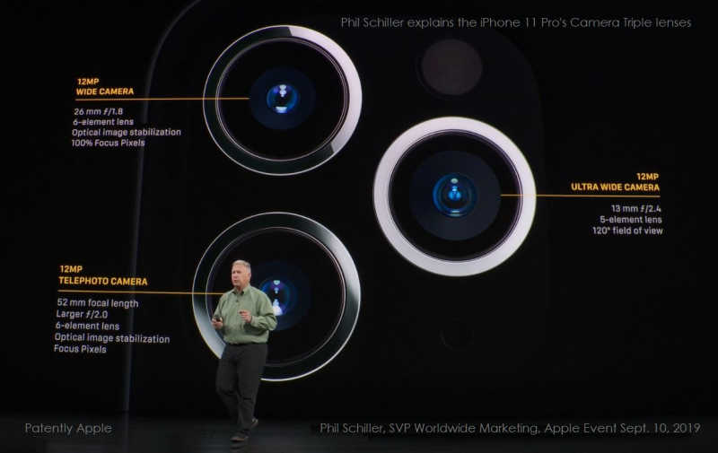 2 x phil schiller describing triple lense system on the iPhone 11 Pro.