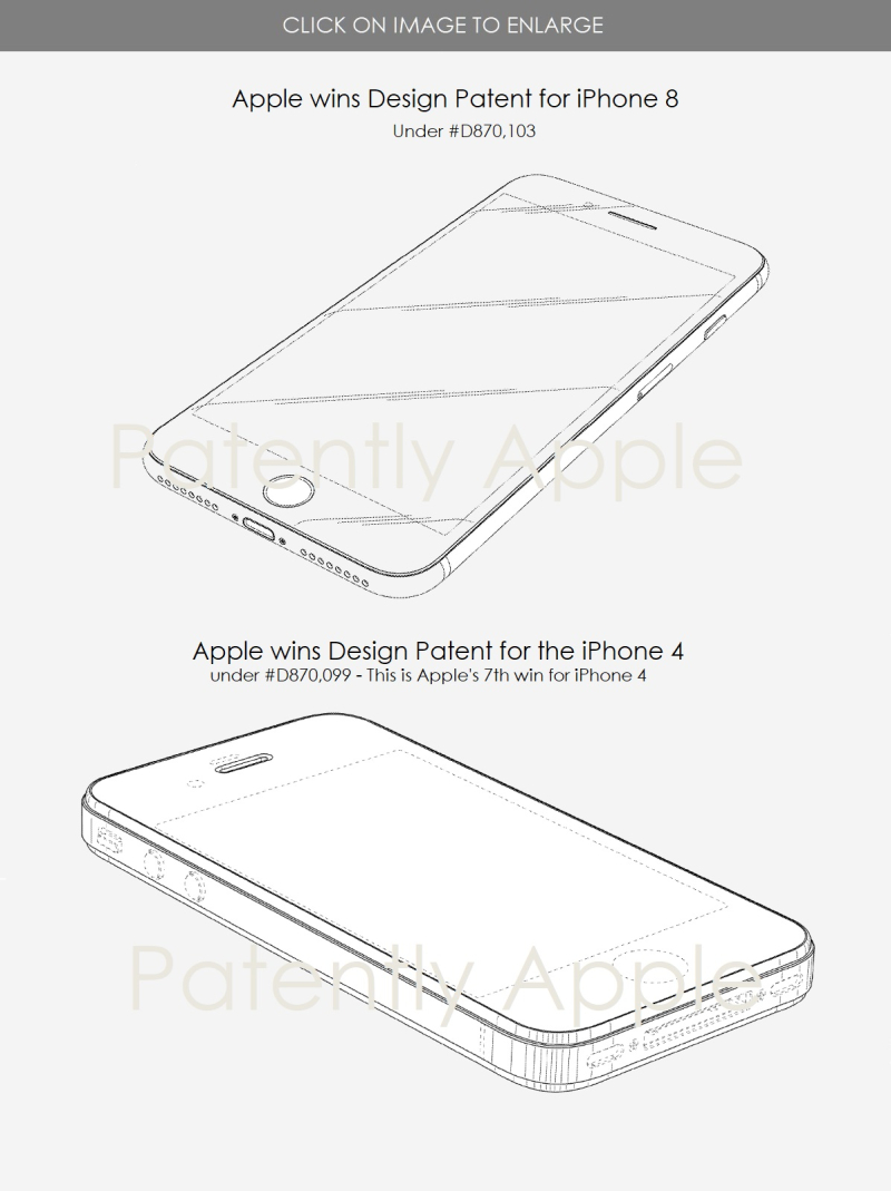 4 Apple design patents for iPhone 4 and iPhone 8
