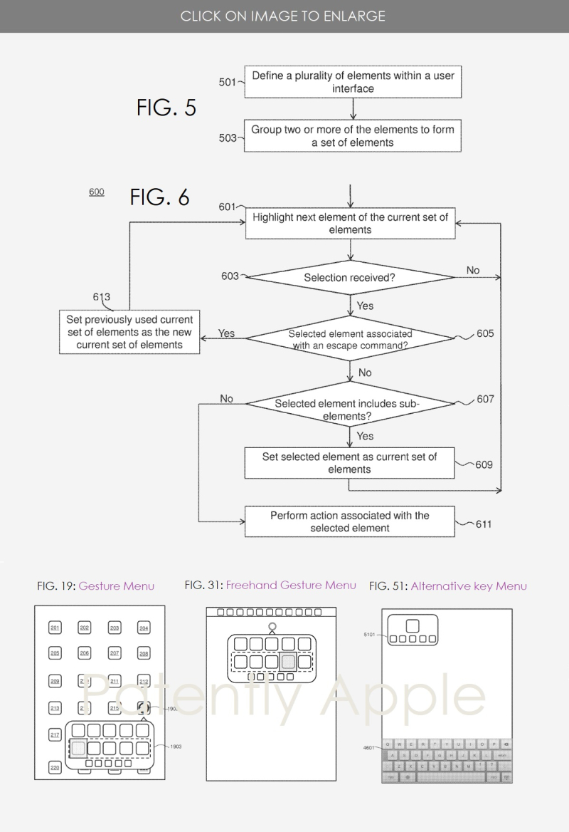 2 Apple patent for assistive-centric technology FIGS 5  6  19  31 & 51