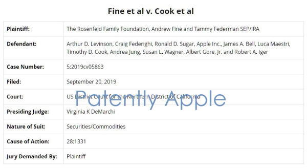 Key Apple Executives, Board Members sued in Shareholder 'Derivative Complaint' for Breach of Fiduciary Duty and more